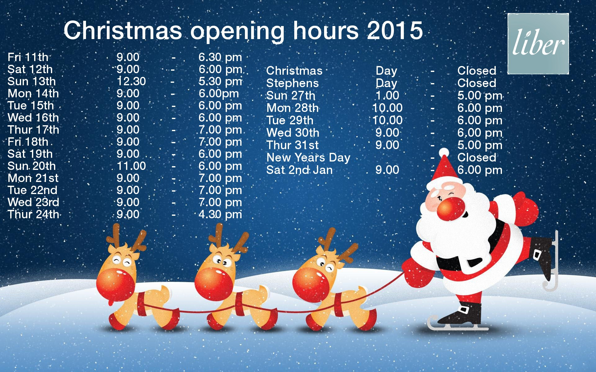 Christmas opening hours complete 2015